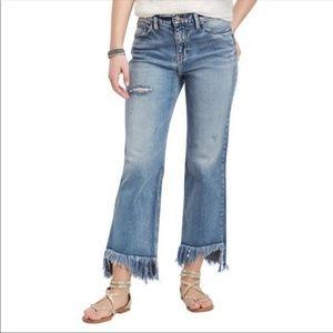 Silver Vintage Ankle Straight Frayed Hem Jeans
